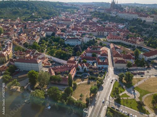 Foto op Aluminium Brussel Areal shot of Prague old town