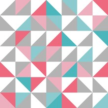 Seamless Triangle Design Pattern In Blue, Pink, Grey, White