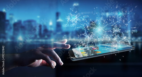 Fotografía  Businessman using digital binary code on mobile phone 3D rendering