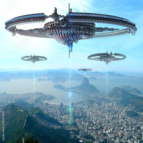 3D Illustration of futuristic energy source spacecrafts in Rio De Janeiro Canvas Print