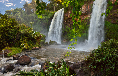 Poster Taupe The amazing Iguazu falls, summer landscape with scenic waterfalls