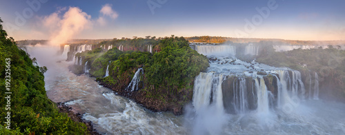 Cascades The amazing Iguazu falls, summer landscape with scenic waterfalls