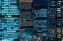 Skyscrapers Illuminated At Night In Tokyo, Japan