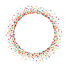 Colorful Frame From Dots On White Background, Vector Illustration
