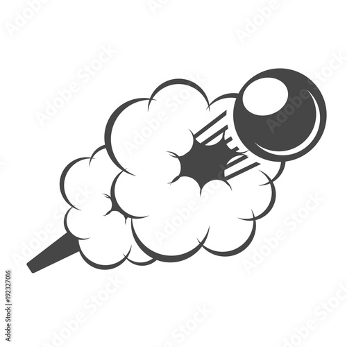 Fotografia Flying cannonball in smoke - cannon volley