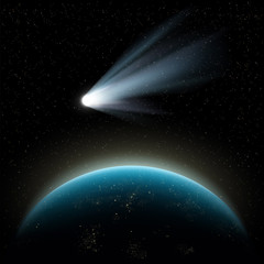 Planet earth and comet