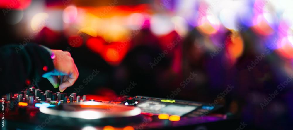 Fototapeta Music Background DJ Night Club Deejay Record Player Blurred Crowd Dancing