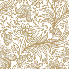 Floral seamless pattern. Oriental ethnic ornamental background with flowers