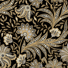 Floral seamless pattern. Flourish oriental ethnic background. with flowers