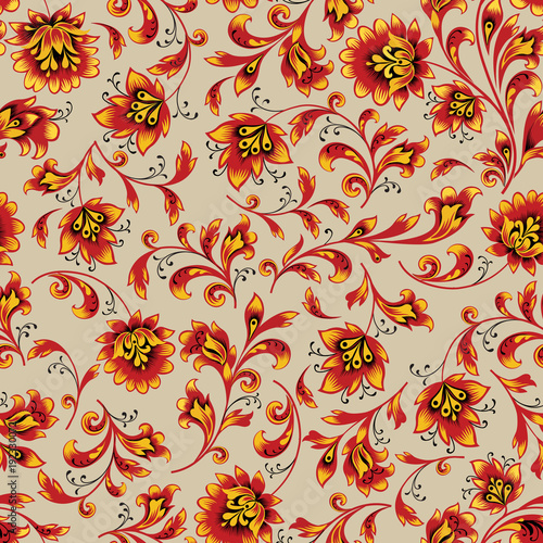 Tuinposter Abstract bloemen Floral seamless pattern. Flower background. Ornamental russian ethnic style
