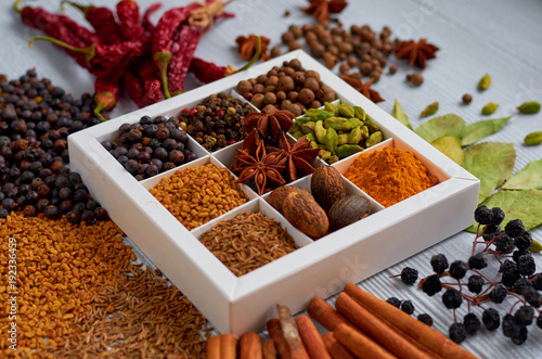 Foto op Canvas Kruiden Spices and herbs on the gray kitchen table: star anise, fragrant pepper, cinnamon, nutmeg, bay leaves, paprika close up. Spices texture background. Ingredients for tasty food and cuisine. Side view