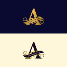Gold Letter A. Calligraphic Be...