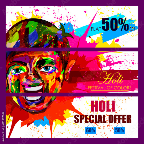 Keuken foto achterwand Art Studio Happy Holi festival of colors Deal and Offer background for holiday of India