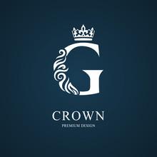 Elegant Letter G With Crown. Graceful Royal Style. Calligraphic Beautiful Logo. Vintage Drawn Emblem For Book Design, Brand Name, Business Card, Restaurant, Boutique, Hotel. Vector Illustration