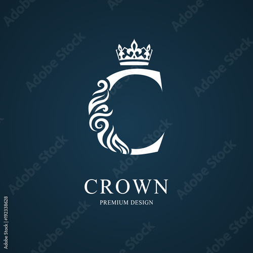 Elegant letter C with crown. Graceful royal style. Calligraphic beautiful logo. Vintage drawn emblem for book design, brand name, business card, Restaurant, Boutique, Hotel. Vector illustration