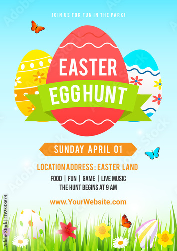 Foto  Easter egg hunt poster vector illustration