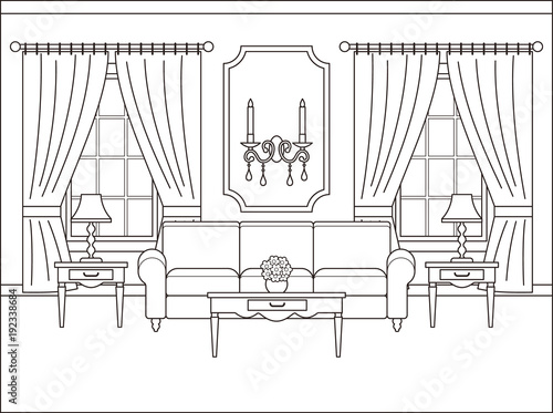 Room Interior Vector Linear Living Room With Window Coloring Page