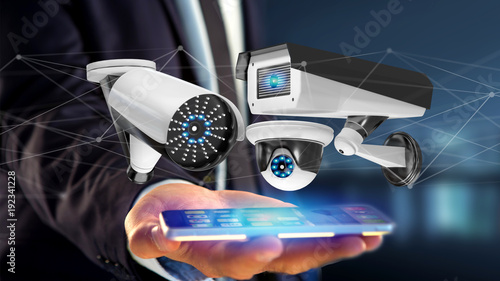 Businessman using a smartphone with a Security camera system and network connection - 3d rendering