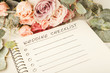 canvas print picture - Wedding checklist and rose bouquet