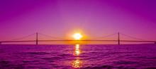 Sunset View And Mackinac Bridg...