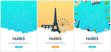 Set Of France And Paris Travel Banners. With Flat And Doodle Elements. Doodles Background. Vector Illustration