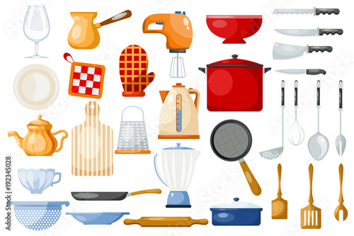 Fotografía  Kitchenware vector cookware for cooking and kitchen utensils or cutlery for kitc