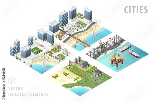 Fotografía  Set of Isolated Isometric Realistic City Maps