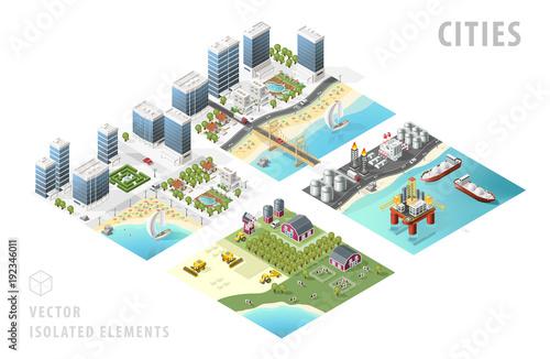 Fotografía  Set of Isolated Isometric Realistic City Maps