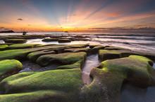 Beautiful Sunset Seascape With...