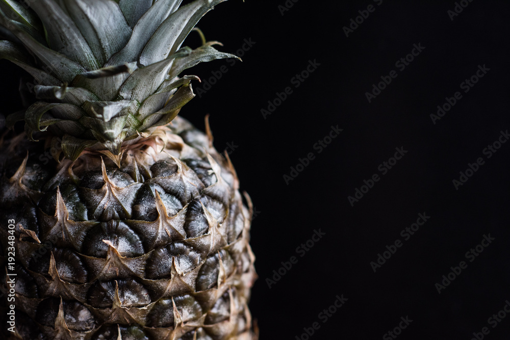 pineapple on black background