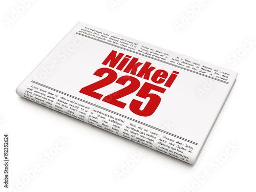 Fotografie, Obraz  Stock market indexes concept: newspaper headline Nikkei 225 on White background,