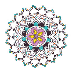Panel Szklany Boho color mandala decorative icon vector illustration design
