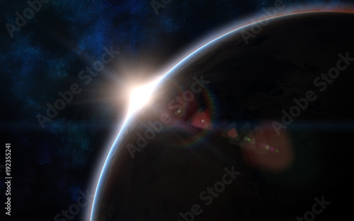 Solar System Earth At Sunset Space Landscape Image In 5k