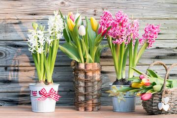 Frühling mit Hyazinthen und Tulpen im Weidenkorb rustikal vor Holzhintergrund