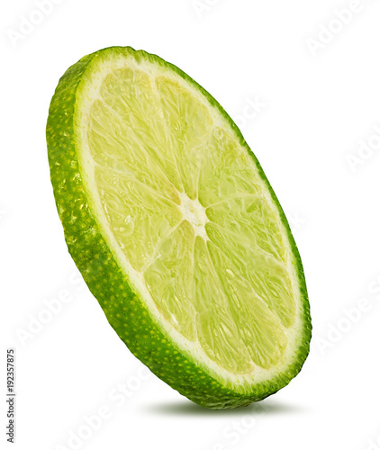 Fotografie, Obraz  Fresh lime slices isolated on white background with clipping path