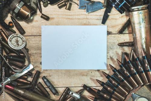 Photo wooden box with bullets amomo equipment terrorist arsenal terrorism top view