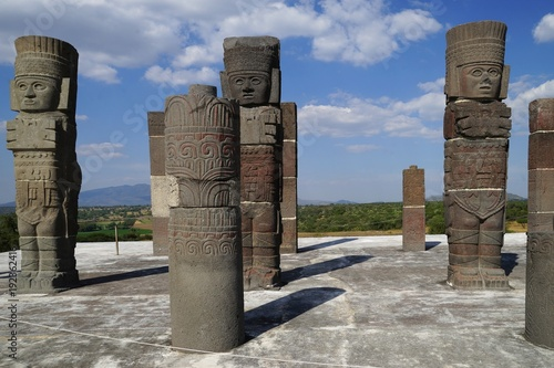 Warrior figures on top of Pyramid B, Tula archaeological site, Mexico Wallpaper Mural
