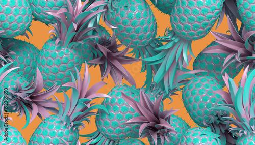 Naklejka dekoracyjna Letni wzór z ananasami