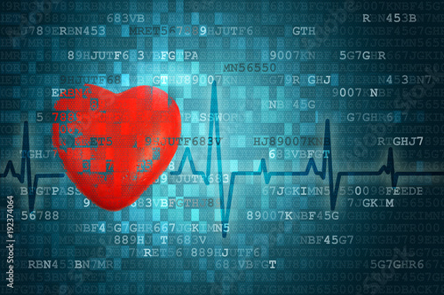 Pixelated Red Heart Symbol And Cardiogram On Blue Abstract
