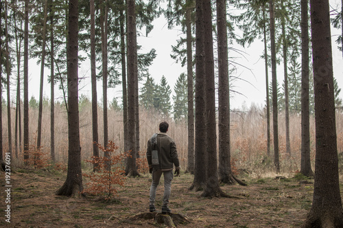 Fotografie, Obraz  Man standing in the forest