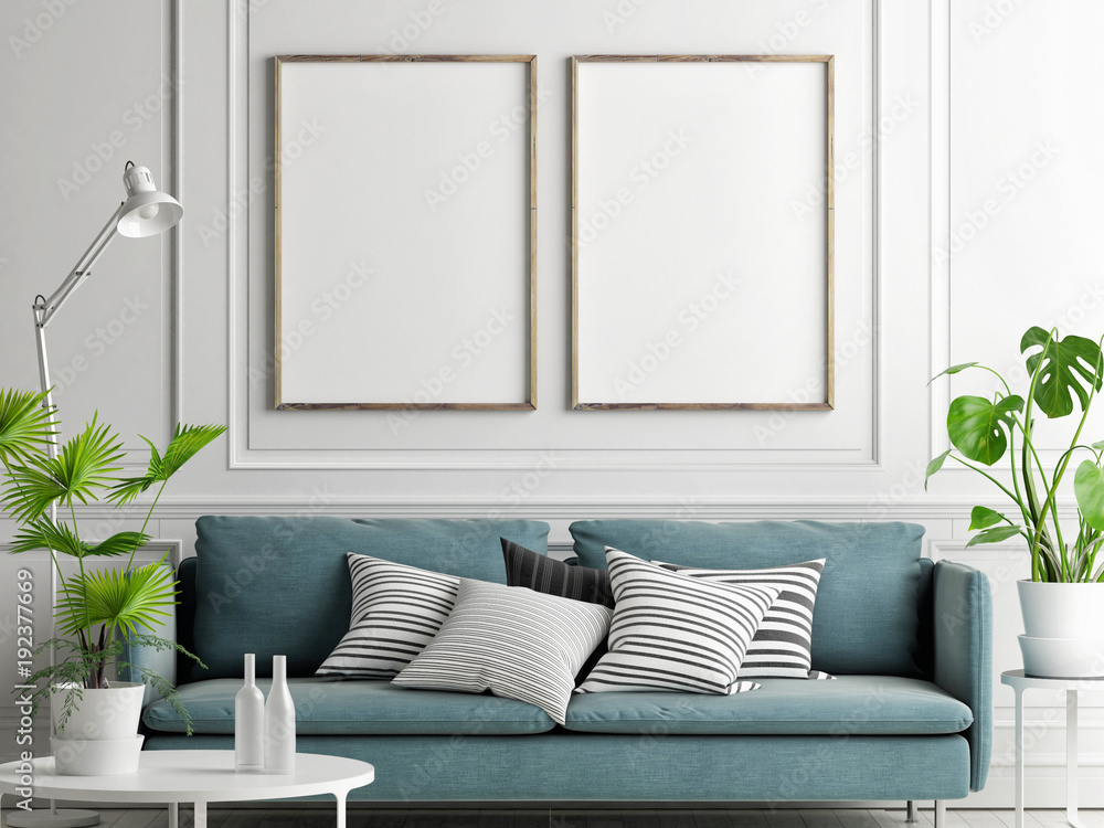 Fototapety, obrazy: Mock up posters, pastel comfortable sofa, Living room style, 3d render, 3d illustration