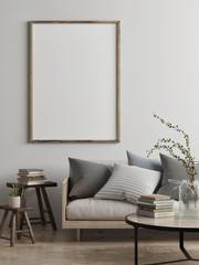 Mock up poster, Scandinavian living room concept design, 3d render, 3d illustration