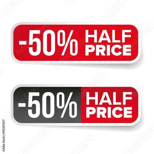 Papel de parede Sale label half price sticker