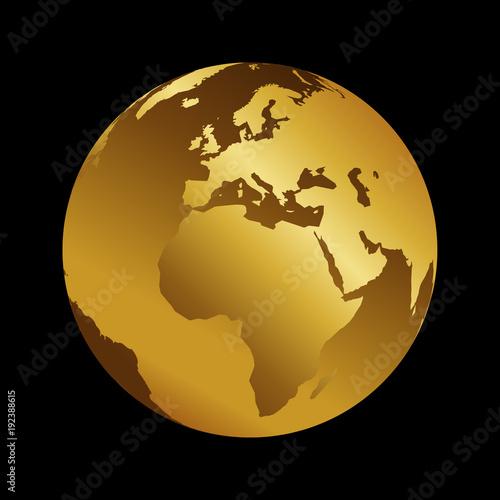World Map 3d View.Africa Golden 3d Metal Planet Backdrop View World Map Vector
