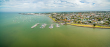 Aerial Panorama Of Williamstown Coastal Suburb And Yacht Club In Melbourne, Australia