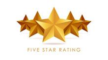 Five Golden Rating Star Vector...