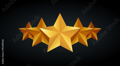 Fototapeta Five golden rating star vector illustration in gray black background obraz na płótnie