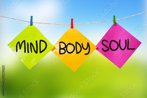 Fotografía  Mind Body Soul. Inspirational text