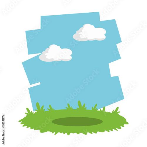 Keuken foto achterwand Turkoois Grass and sky landscape cartoon icon vector illustration graphic design