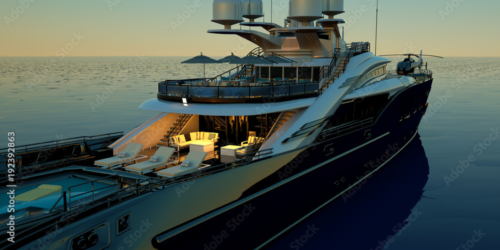 Fototapety, obrazy: Extremely detailed and realistic high resolution 3D illustration of a luxury super yacht with a helicopter, a swimming pool and a jacuzzi